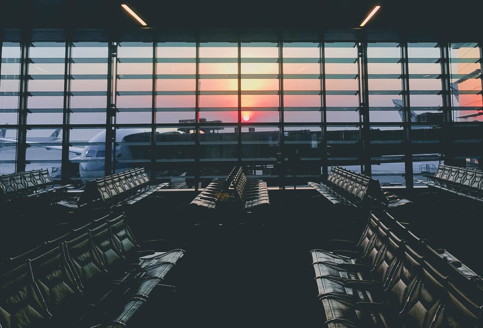 empty chairs at the airport